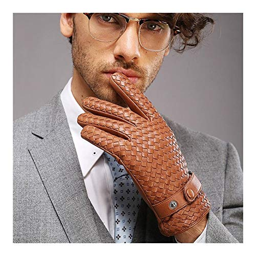 LUOSI High-End-Weave Herren Handschuhe Fashion Solid Handgelenk Handschuh Mann Winter-Wärme-Fahren (Color : Tan, Size : L)
