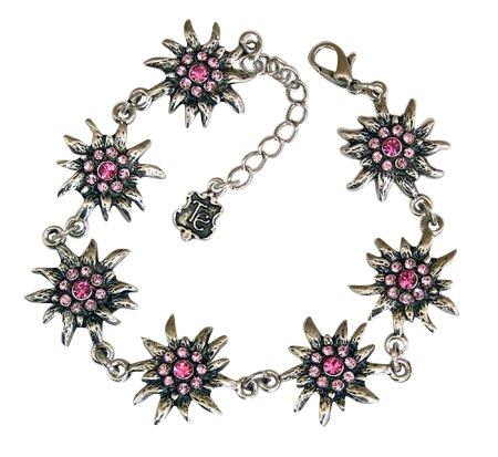 Trachtenschmuck Dirndl Edelweiss Armband mit Swarovski Elements Kristallen in Light Rose und Rose rosa