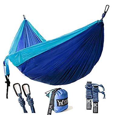 Winner Outfitters Double Camping Hammock - Lightweight Nylon Portable Hammock, Best Parachute Double Hammock For Backpacking, Camping, Travel, Beach, Yard. 118 (L) x 78 (W), Sky Blue/Blue Color