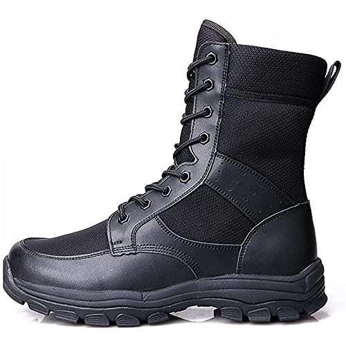 Botas TáCticas Transpirables para Hombre Cuero Impermeable Zapatos de PolicíA de Seguridad Comando Al Aire Libre Botas Militares Del Desierto Botas Altas Antideslizantes para Caminar