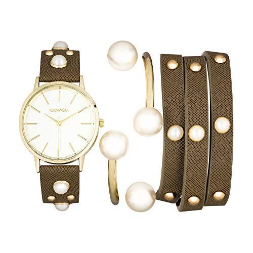 Rocawear Womens Quartz Studded Analog Watch with Bangle Gift Set