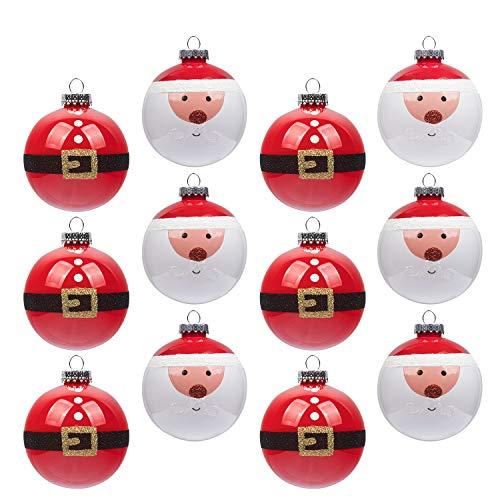 Christbaumkugeln 12pcs bruchsicher Weihnachtsbaum Dekoration Ornamente 80mm Handarbeit für Weihnachtsfeier Hochzeit Dekor (80mm, Santa)