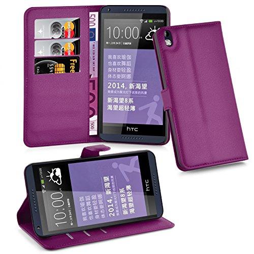 Cadorabo Hülle für HTC Desire 816 - Hülle in Mangan VIOLETT – Handyhülle mit Kartenfach & Standfunktion - Case Cover Schutzhülle Etui Tasche Book Klapp Style