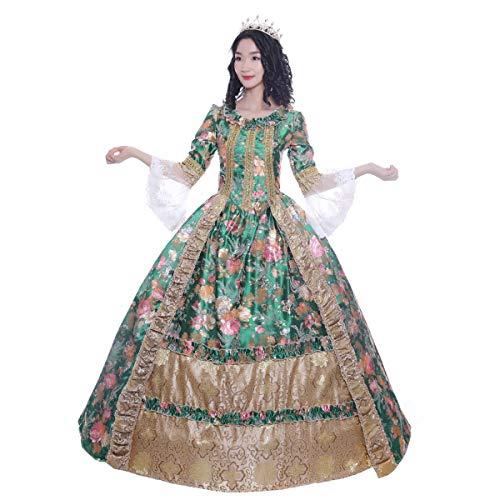KEMAO Damen Viktorianisches Rokokokleid Inspiration Jungfrauenkostüm Ballkleid Übergröße - Grün - XXX-Large :Höhe 68-70 Bust 50-52 Taille 43-45