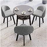WANGQW Conjunto de Mesa de Comedor para Cocina o decoraci 1 Mesa y 3 sillas 60 cm / 70 cm / 80 cm Mesa de Doble Capa Balcón Dormitorio Home Restaurant Hotel Hospital (Color : Grey, Size : 80cm)