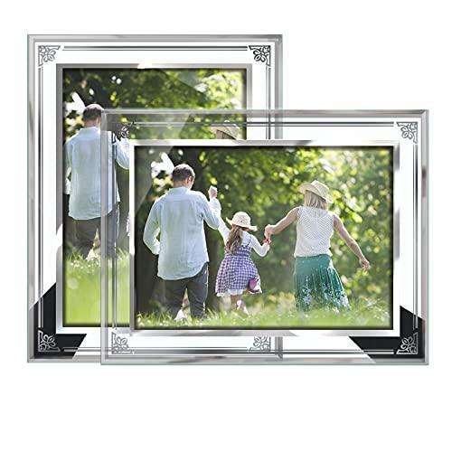 Cornici foto in vetro,Trasparente,Set da 2,20x25CM,Portafoto,Cornice da tavolo per casa o officiale