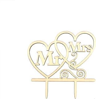 TOYANDONA Wedding Cake Topper Retro Style Unfinished Wood Mr Mrs Letter Love Shape Muffin Cupcake Pick Bakery Dessert Deco...