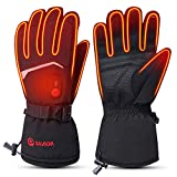 SAVIOR HEAT 2020 Upgrade Heated Gloves for Men Women, 7.4V Electric Rechargeable Battery Heating Ski Gloves for Cold Hands (Black, S)