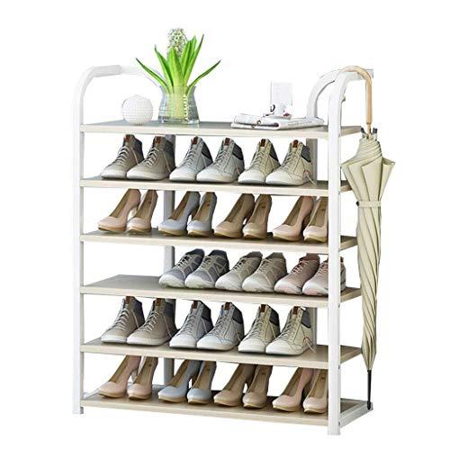 NYDZDM schoenenkast 80 cm breed planken verticale plank Organizer wit ijzer frame + houten plank, ideaal voor hal, badkamer, woonkamer en hal