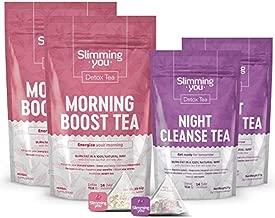 14 Day Detox Tea Bundle - Tea Detox Cleanse Weight Loss Tea 2 Morning Boost Tea (28 Bags) 2 Night Cleanse Tea (14 Bags), All Natural Herbal Slim Tea for Detox and Colon Cleanse, Reduce Bloating