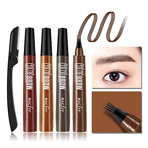 Microblading Eyebrow Tattoo Pen with 1 Eyebrow Razor, Waterproof Fork Tip Eye Brow Pencil Marker, Liquid Applicator for Eyebrows, Creates Natural Looking Brows and Stays on All Day(01# Dark Gary)