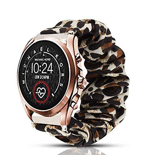 Compatible for Michael Kors Bradshaw 2 Band, Blueshaw Fabric Elastic Scrunchie Elastic Watch Band Women Cute Replacement Straps Compatible for MK Access Gen 5 Bradshaw Smartwatch (Leopard Print)