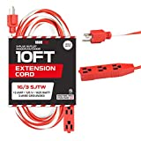 10 Ft Extension Cord with 3 Electrical Power Outlets - 16/3 SJTW Durable Candy Cane Cable - Great for Powering Christmas Decorations