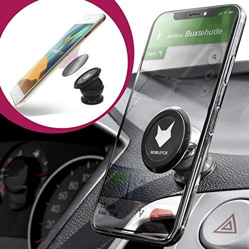 Mobilefox KFZ 360° Auto Magnet Handy Kugelkopf Halter Smartphone Halterung Armaturenbrett Universal Schwarz