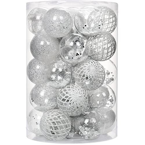 YILEEY Bolas Arbol de Navidad Personalizadas 34 Piezas Blanco, Decoracion Adornos Arbol Navidad Pet Material Inastillable, El Tamaño es de 60 mm / 2.36 in.