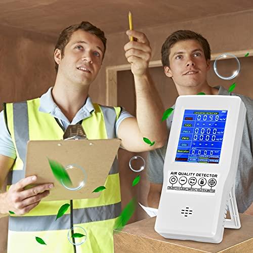 4YANG Feinstaubmessgerät, 6 in1-Akku-Feinstaub-Messgerät für CO2/Formaldehyd/HCHO/TVOC/PM2.5/PM10 (Feinstaubmesser)