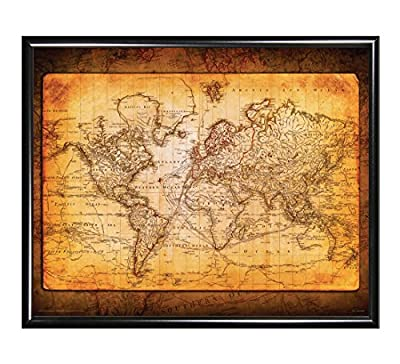 World Map Antique Vintage Old Style Decorative Educational Classroom Poster Print