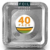 Best Stove Bib Liners (Pack of 40) Disposable Gas Stove Burner Covers. Aluminum Foil Drip Pans 8.5 x...