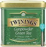 Twinings Té Suelto - Gunpowder - Té verde de la Provincia de Zhejiang de Indonesia y China - Carácter ligero - Sabor Refrescante y Característico - Té de Bajo Contenido de Theine - Lata 100 g