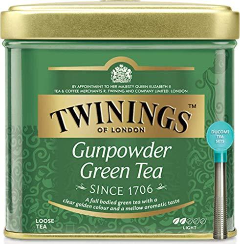 Twinings Tè Sfusi - Gunpowder - Tè Verde Proveniente da Indonesia e Cina Provincia di Zhejiang - Carattere Leggero - Sapore Rinfrescante e Caratteristico - Tè a basso Contenuto di Teina - Latta 100 g