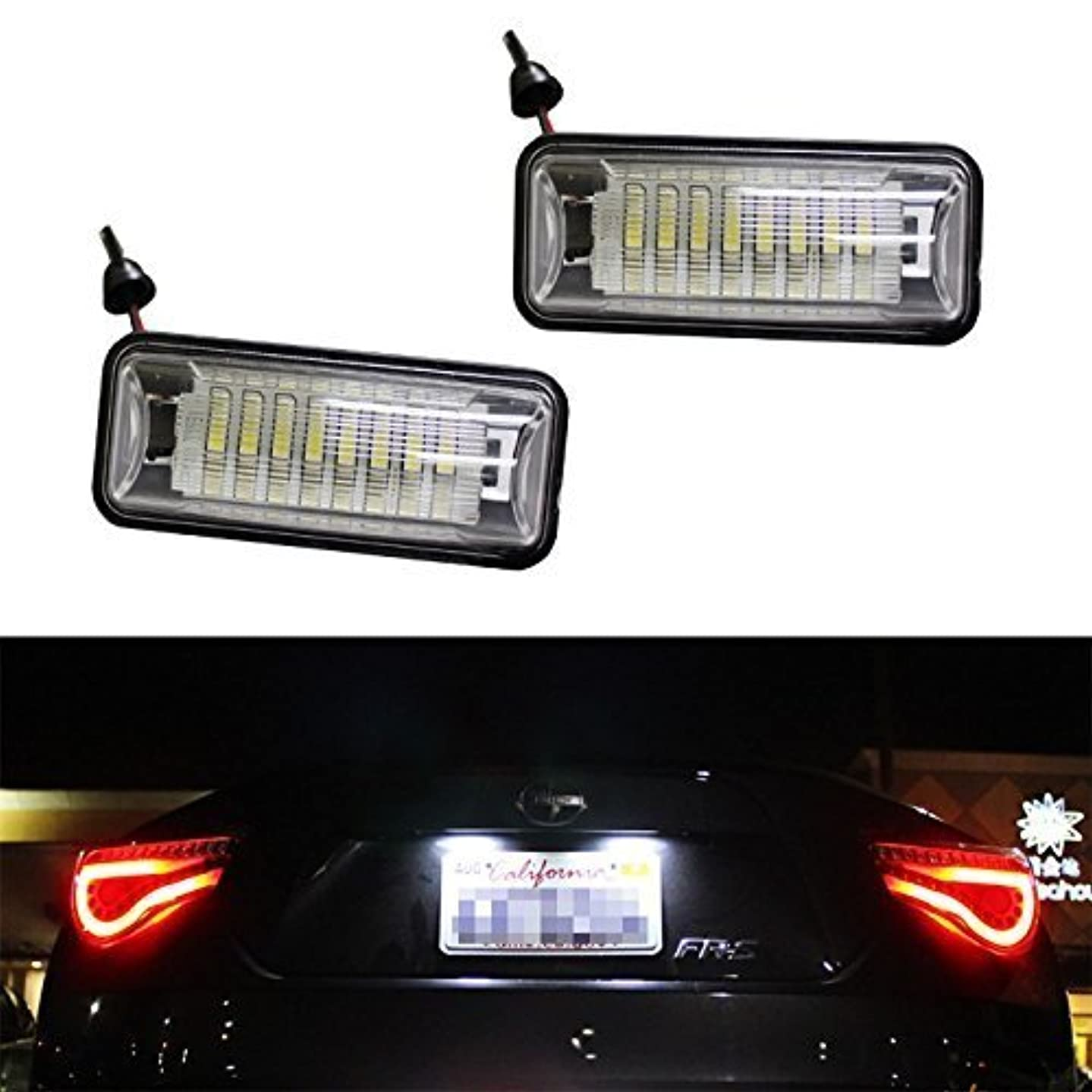 DLLL Replacement Super Bright 24-SMD OEM White Exact Fit CAN-bus 24 SMD LED License Plate Light Lamps for Scion FRS Subaru BRZ Toyota FT86 2012-up Toyota 86 GT-86(NC6)