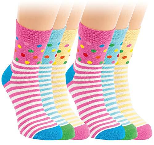 Vitasox 20824 Kinder Socken Mädchen Kindersocken Mädchensocken Baumwolle Punkte Ringel bunt ohne Naht 6 Paar 35/38