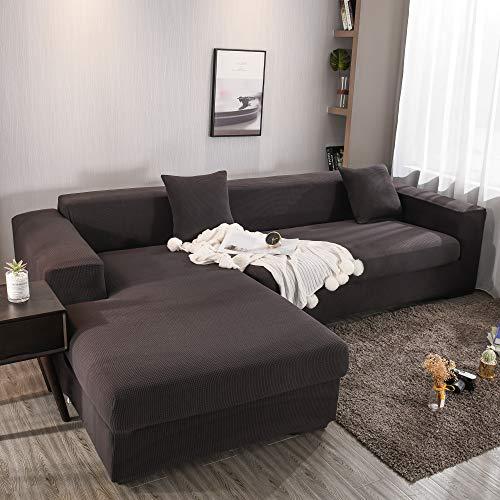 Homefurnishing Sofabezug l Form Ecksofa Sofa Spannbezug Stretch Sofabezug Set für 1-4 Sitzer Sofa(Wenn Ihr Sofa für L-Form Ecksofa ist, müssen Sie Zwei kaufen)(braun-4 Sitzer)