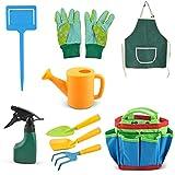 MOPOIN Kit Jardineria Niños, 7 Piezas Set jardineria Infantil con Bolsa, Herramientas de jardinería para niños, Incluye regadera, Guantes de jardinería, rastrillo, Pala para jardín y Playa para niños