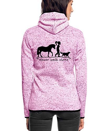 Spreadshirt Never Walk Alone Pferd Hund Frauen Kapuzen-Fleecejacke, XL, Lila meliert