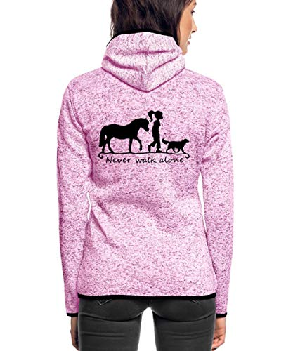 Spreadshirt Never Walk Alone Pferd Hund Frauen Kapuzen-Fleecejacke, L, Lila meliert