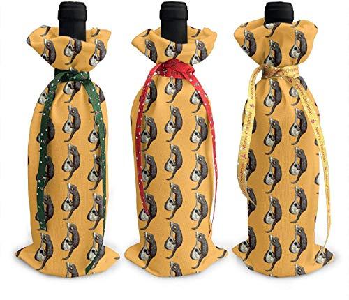 3 fundas para botellas de vino con dibujos animados Pangolin Músico Pangolin bolsa de regalo de Navidad para decoración de mesa de día festivo talla única Como se muestra en la imagen