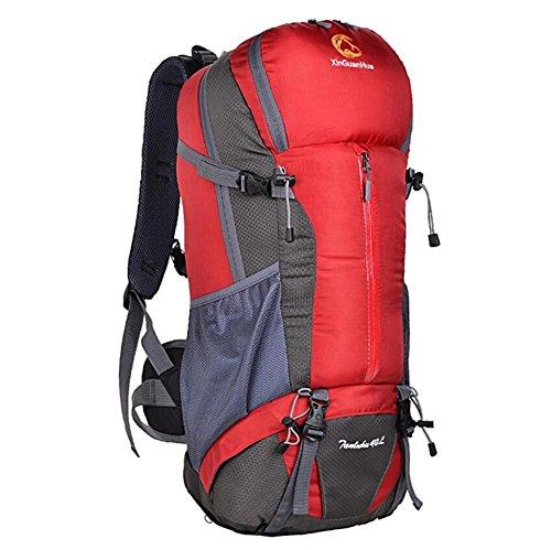 40L Sac d'alpinisme extérieur sac à bandoulière grande capacité professionnelle Voyage randonnée camping , red