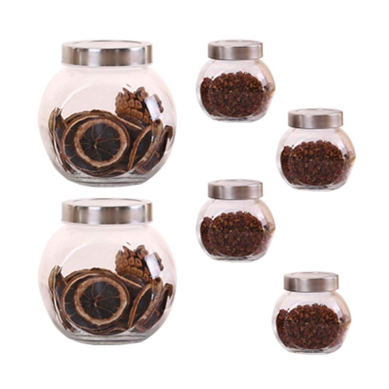 ライバル血適応6個の鉛フリーガラスドライフルーツシール保湿ストレージジャーのストレージジャーパック(6パック)