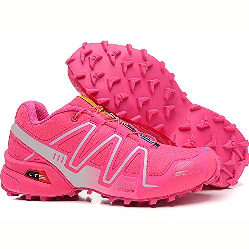 CHUIKUAJ Zapatillas de Ciclismo Zapatillas de Ciclismo Interior para Mujer Sin Bloqueo Zapatillas de Ciclismo de Montaña Impermeables Zapatillas Deportivas Al Aire Libre,Pink-38EU