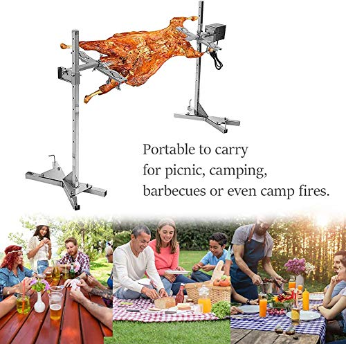InLoveArts BBQ Electric Rotisserie Kit, Automatic 15W Stainless Steel Rotisserie Kit Stainless Steel Spit Rod Meat Forks with Electric Motor, for Picnic Camping BBQ