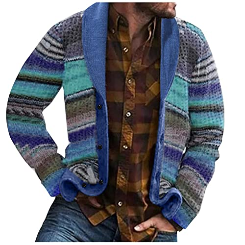 KEEYO Mens African Cardigan Sweater Shawl Collar Open Front Long Sleeve Cable Knit Button up Thermal...