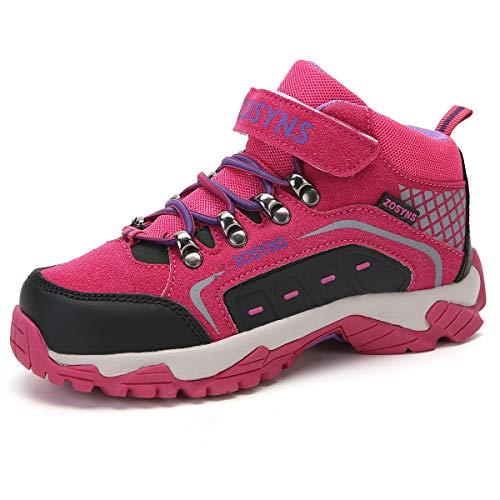 ZOSYNS Kinder Wanderschuhe Mädchen Trekking Schuhe Mädchen Wanderhalbschuhe Kinder Stiefel für Mädchen Stiefeletten Outdoorschuhe Mädchen Wanderschuhe Schneestiefel Rosa 34