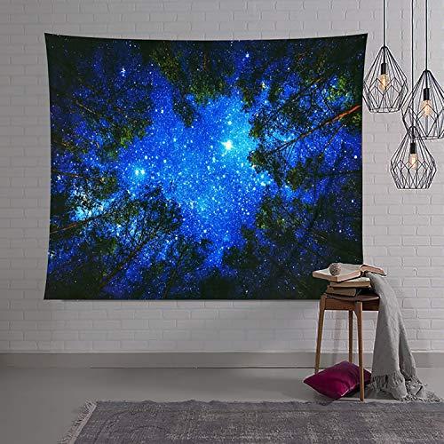 TEALP Wandbehang mit Sternenmotiv, Galaxie-Wandteppich, Baumteppich, Nachthimmel, für Wohnheim, Wohnzimmer, Schlafzimmer, 130 x 150 cm