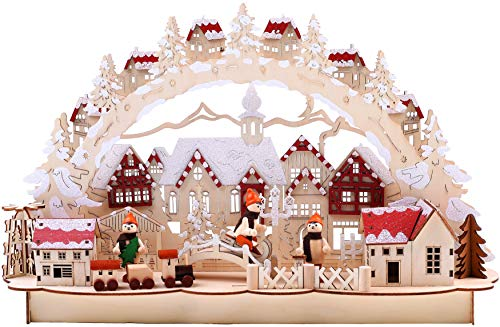 BRUBAKER Christmas LED Light Arch - Old Town Winter Scene - 17.7 x 4.7 x 10.6 Inches