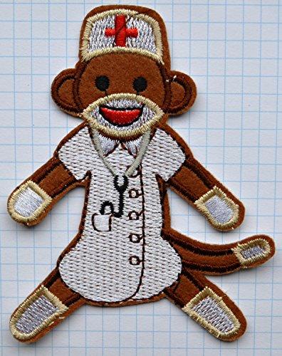 Parche bordado de mono enfermera para planchar