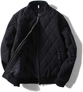[habille]メンズ キルティング フライトジャケット MA-1 レザー使い 大きいサイズ おまけ付(2カラー)