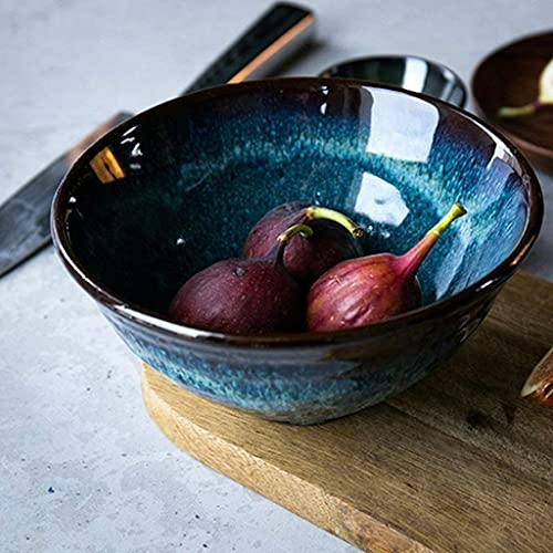 H-BEI Bols & agrave;c & Eacute; r & Eacute; ales tazón de Porcelana Azul y Blanca Japonesa de Ensalada tazón de arroz Ramen de Frutas tazones de arroz domésticos Platos de vajilla de CE