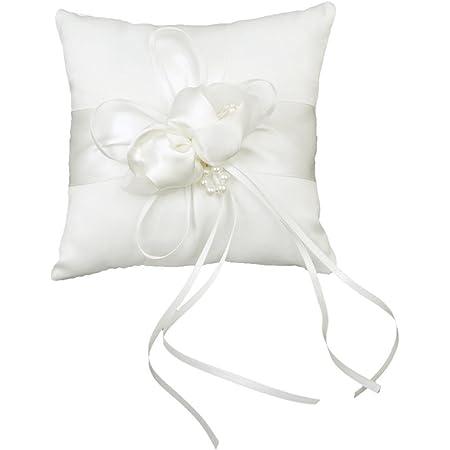 Rosenice 20 * 20cm Boccioli Di Fiori Incantevoli Perle Finte Decor Sposa Ceramony Tasca Cuscino Cuscino Portatore Dell'anello Con I Nastri (Bianco)
