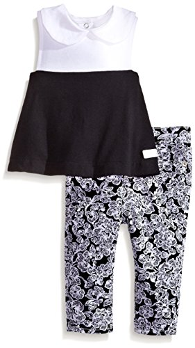 7 for all mankind Baby-Girls Newborn Skinny Short and Color Block Tunic, White Lace Floral, 3-6 Months