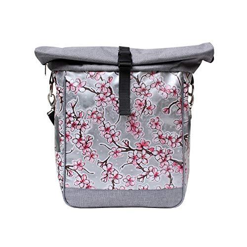 IKURI einseitige Fahrradtasche für Gepäckträger Satteltasche Einzeltasche Packtasche, abnehmbar, mit Tragegurt zum Umhängen, aus Wachstuch, Damen, wasserdicht, Modell Hanami silber