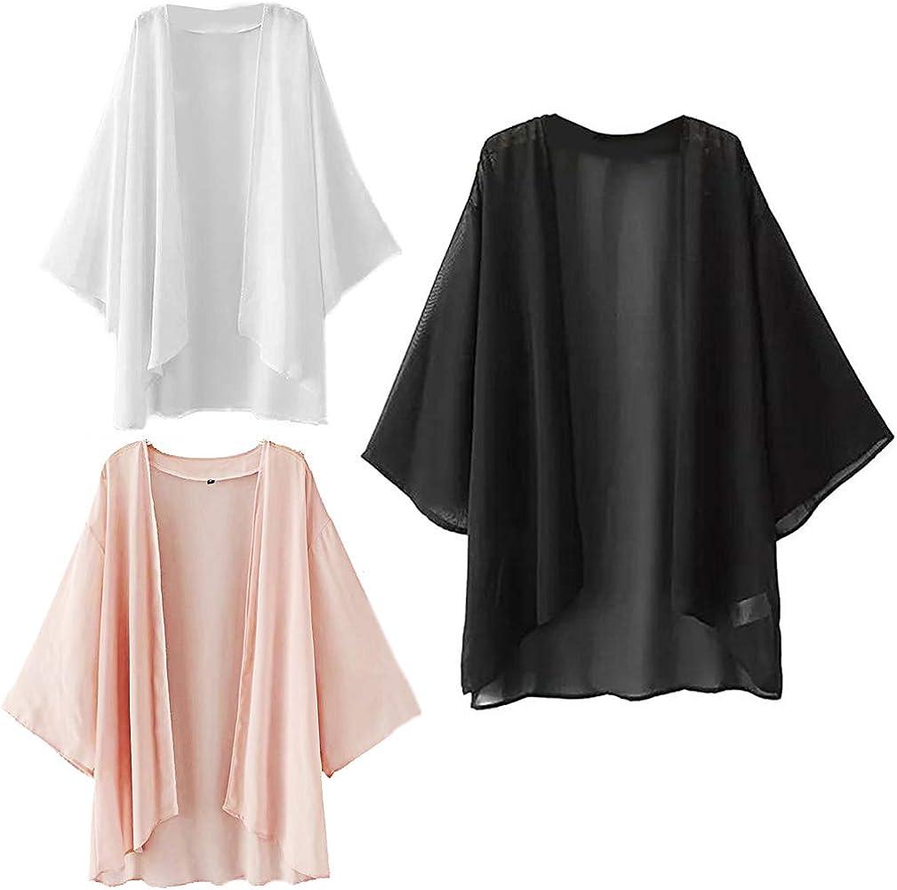 Chiffon Cover Up Cardigan Women's Kimono Blouse Beachwear Swimsuit Beach Dress Plus Size