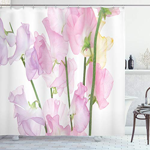 "Lunarable Flower Shower Curtain, Sweetpea Floral Romantic Dissolving Watercolor Look, Cloth Fabric Bathroom Decor Set with Hooks, 70"" Long, Baby Pink Lavender Mustard Pistachio Green"
