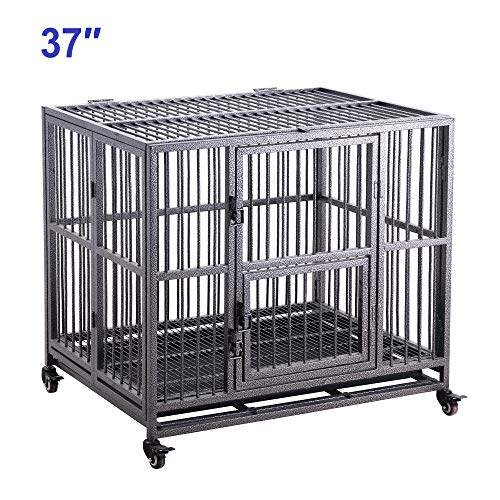 Meihua Heavy Duty Dog Cage Crate for Indoor Outdoor, Easy to Assemble Pet Playpen with Four Wheels, Lockable Wheels, Removable Tray Kennels
