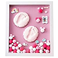 ベビーの手と足のインク 赤ちゃんの手と足のプリント泥 - Divの自家製、固体の木製のフォトフレーム、写真を置くことができる、壁にマウントすることができますか、置かれる、赤ちゃん新生児Inkpadフォトフレームお土産インク鋳造ギフト-9色オプション (色 : Light pink-pink)