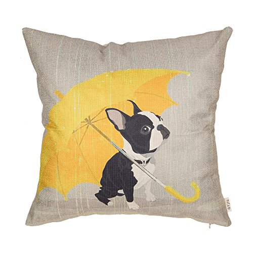 Fjfz Boston Terrier with Yellow Umbrella Dog Lover Decor Gift Cut Funny Decoration Cotton Linen Home Decorative Throw Pillow Case Cushion Cover for Sofa Couch, 18' x 18'